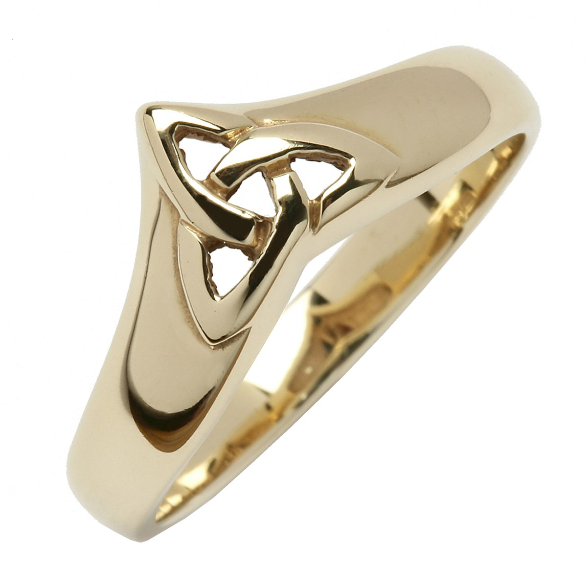 Celtic Trinity Knot Yellow Gold Wishbone Ring  Celtic