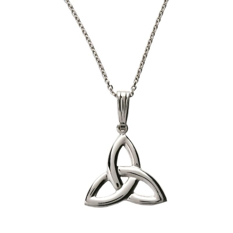 Large White Gold Trinity Knot Pendant  Celtic Necklaces