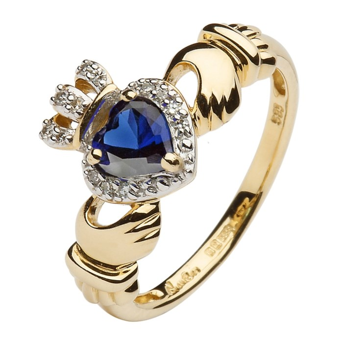 Yellow Gold Claddagh Ring Set With Sapphire and Diamond