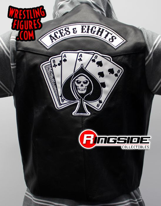 Aces  Eights  TNA Leather Vest  Ringside Collectibles