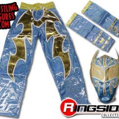 Kids Table With Chairs Chair Covers John Lewis Sin Cara - Blue Combo (kids Size Replica Mask, Armbands & Pants) | Ringside Collectibles
