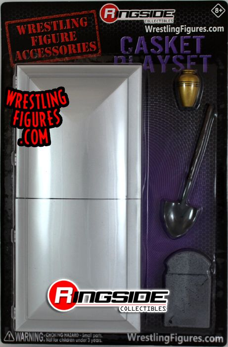 Casket Playset Silver w Black Padding  Ringside Collectibles Exclusive Wrestling Figure