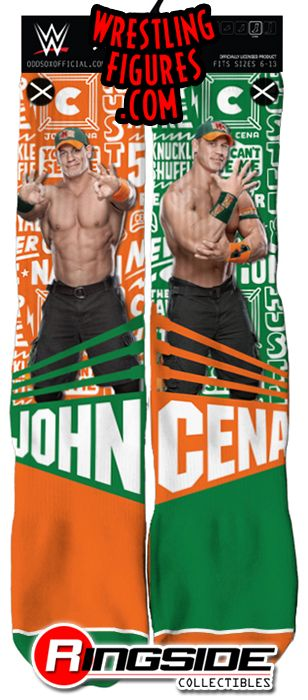 John Cena Orange  Green  WWE Wrestling Socks by Odd Sox