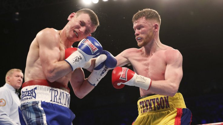 Junior lightweight contender James Tennyson (right) vs. Darren Traynor. Photo courtesy of Sky Sports