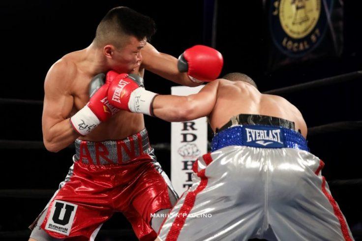 Junior featherweight Arnold Khegai (left) vs. Jorge Diaz. Photo credit: Marilyn Paulino/RBR Boxing