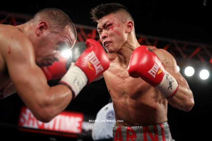 Junior featherweight Arnold Khegai (right) vs. Jorge Diaz. Photo credit: Marilyn Paulino/RBR Boxing