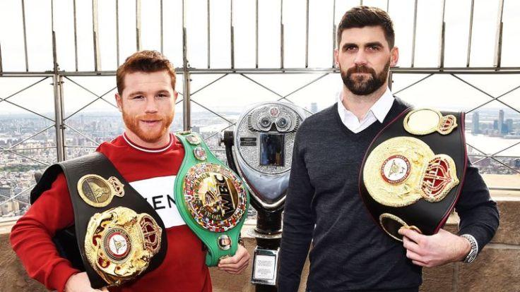Canelo Alvarez (left) and Rocky Fielding. Photo courtesy of Sky Sports