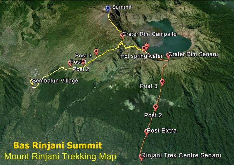 Bas Rinjani Summit Trekking Map