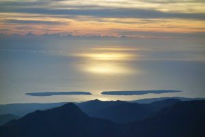 Gili Trawangan and Gili Meno from Summit Rinjani