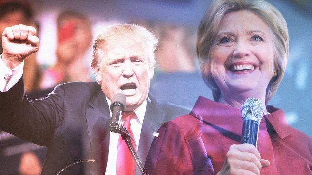 Pic - Hillary smile Trump fist