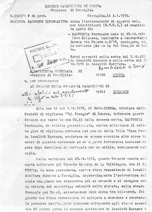 Il rapporto dei carabinieri di Torriglia