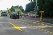 Kreuzungsbaustelle Steinbergen: Verkehr wird jetzt über Betonfahrbahn geleitet