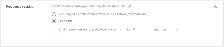 Google Ads Frequency Capping