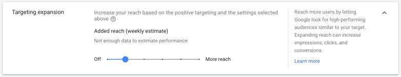 Targeting Expansion in Gogle Ads