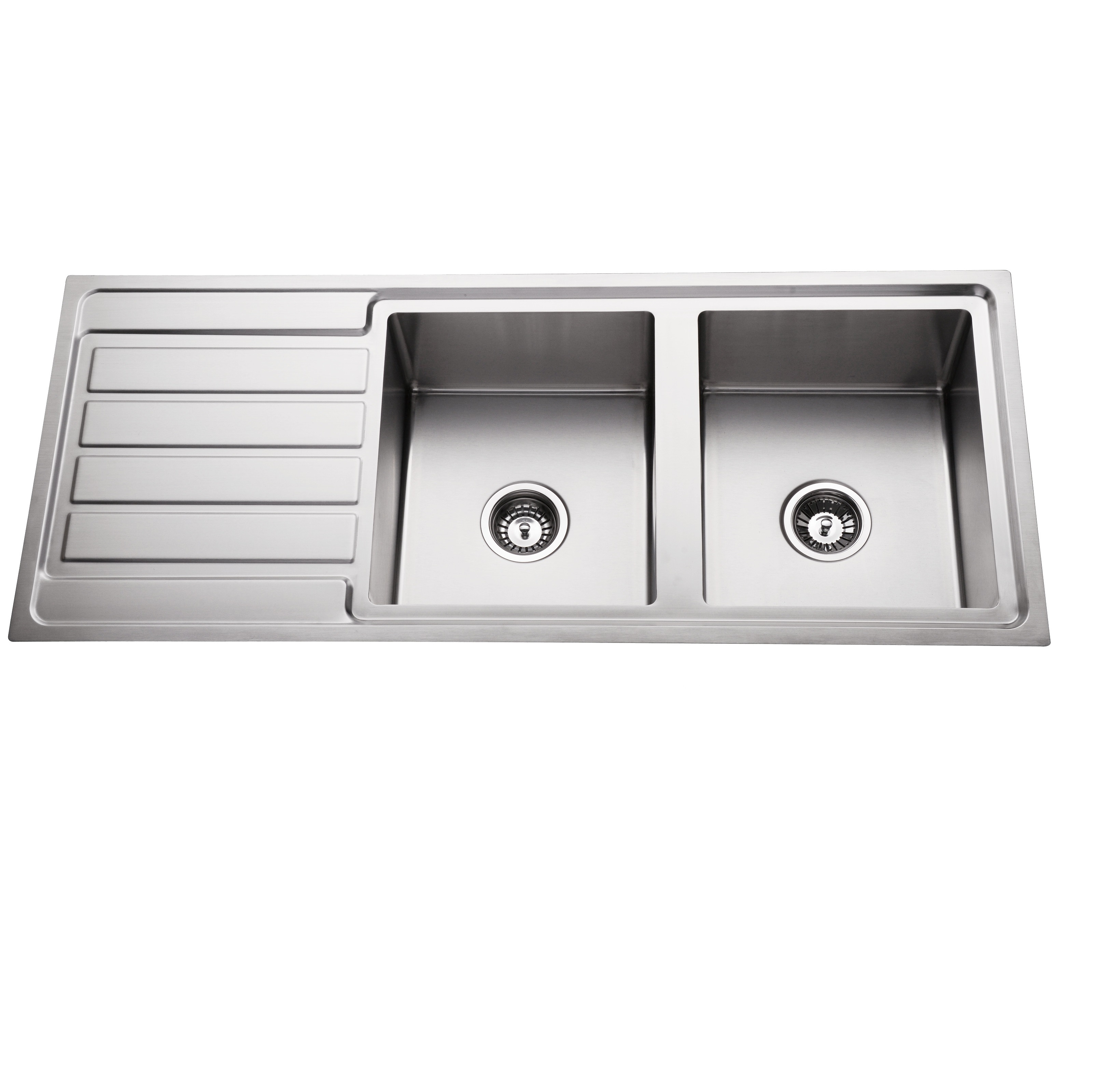 double kitchen sink storage shelf 304 stainless steel bowl top mount