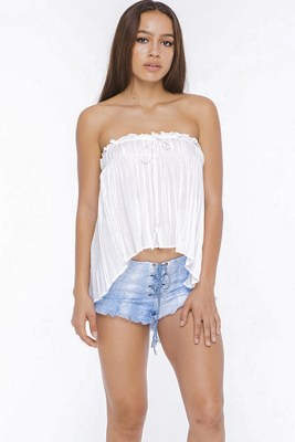 White Mary Strapless Flounce Top