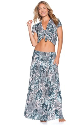 Coconut Milk Top Sparkling Ocean Skirt