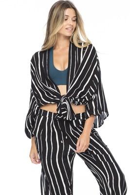 Black Stripe Kumala Kimono