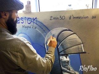 A l'occasion de l'inauguration d'un laboratoire dédié à l'e-santé en France – Le 39Bis – sur le campus Gentilly de Sanofi Aventis, l'agence Tequilarapido a fait appel à Riofluo pour animer et habiller artistiquement le lieu. Evènement corporate. Sur mesure, inauguration, live, design, sanofi, activation street-art, graffiti, ernesto novo, harry-james, skio