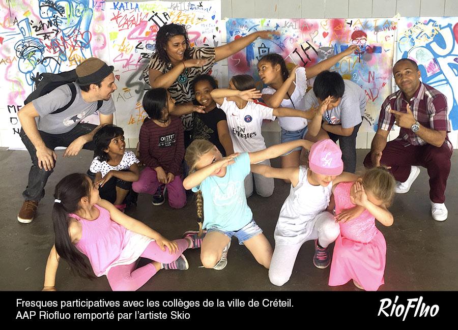 Fresques participatives avec les collèges de la ville de Créteil. Appel à projet Riofluo remporté par l'artiste Skio