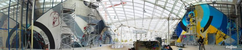 Pour habiller la nouvelle entrée du Palais Omnisport de Paris Bercy, en rénovation pour les BNP Paribas Masters de Tennis à Paris, la Fédération Française de Tennis et le POPB ont demandé́ à Riofluo de réaliser 2 fresques graffiti de 200m2 chacune afin d'accueillir le public de Bercy pendant la durée des travaux dans un esprit dynamique, urbain et artistique. 2 fresques monumentales, pour un total de 400m2, ont été réalisées en un temps record avec les peintres des collectifs French Kiss et les ONOFF.