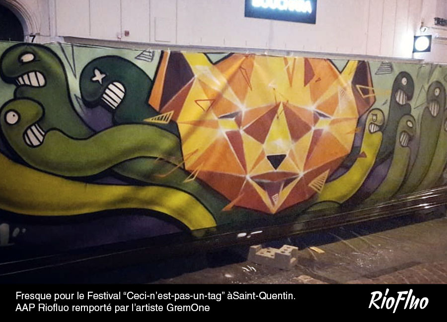 """Fresque pour le Festival """"Ceci-n'est-pas-un-tag"""" àSaint-Quentin. AAP Riofluo remporté par l'artiste GremOne"""