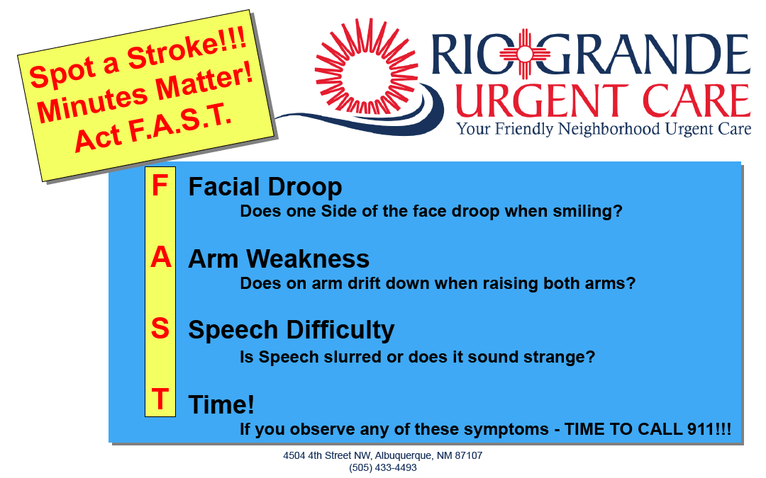 Stroke, F.A.S.T., Facial Droop, Arm Weakness, Speech difficulty, Time, Rio Grande Urgent Care