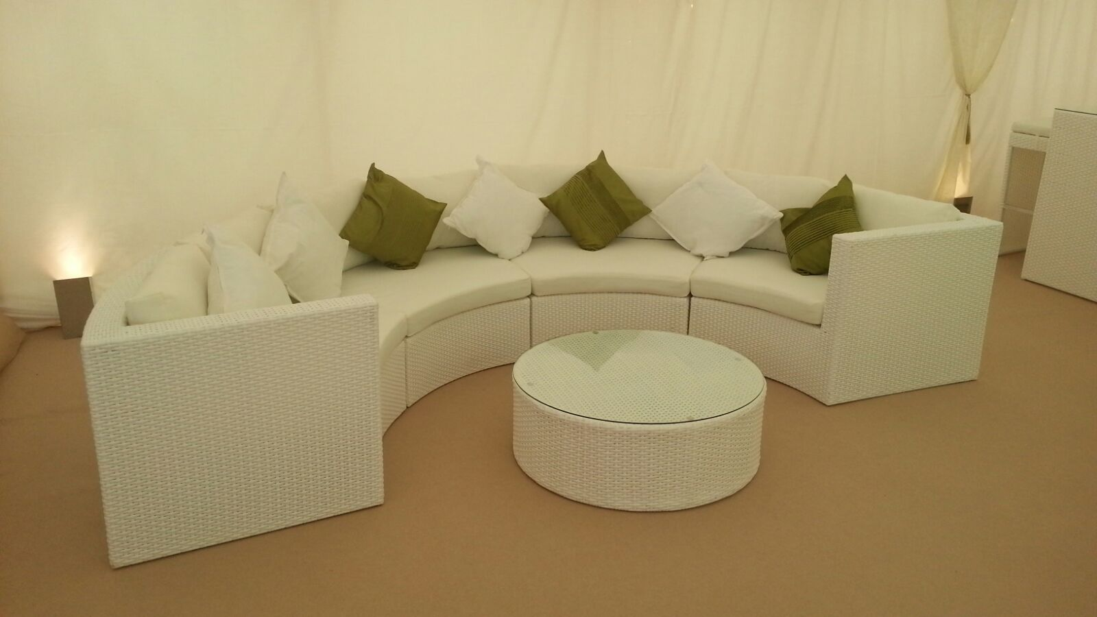 White Scatter Cushion Hire Rio Lounge