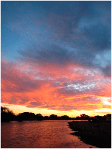 fly fishing argentina sunset