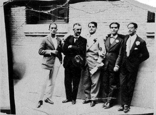 Salvador Dalí, Moreno Villa, Luis Buñuel, García Lorca, and Jose Antonio Rubio Sacristán,