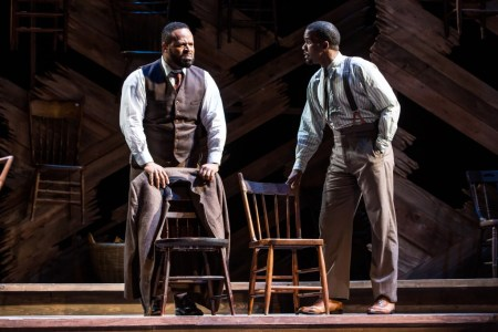 Gavin Gregory as Mister (left) with J. Daughtry (Harpo) in The Color Purple.