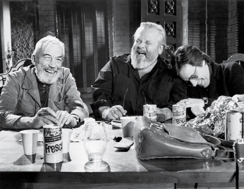 John Huston, Orson Welles and Peter Bogdanovich on the set of The Other Side of the Wind. Reviewed at Riot Material Magazine