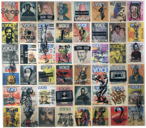 Village Voice Covers, a wood-block print on newsprint, by Nils Karsten © The artist..