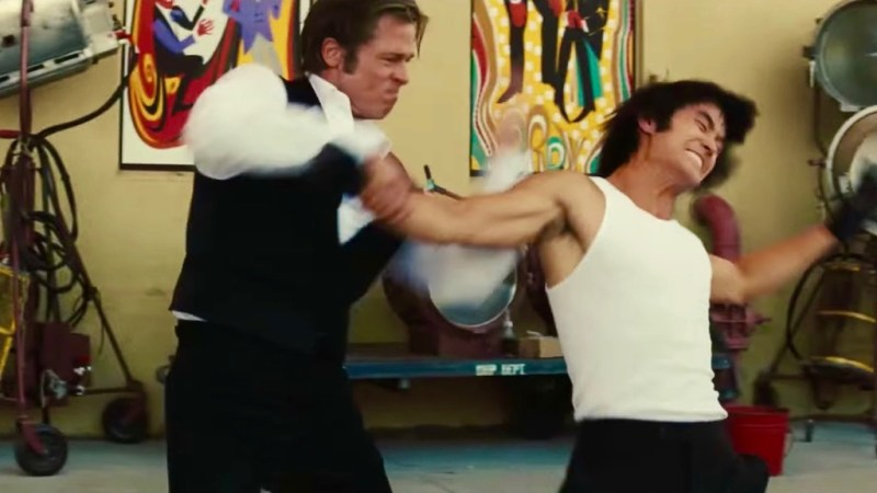 Brad Pitt and Mike Moh in Once Upon A Time In...Hollywood, reviewed at Riot Material magazine.