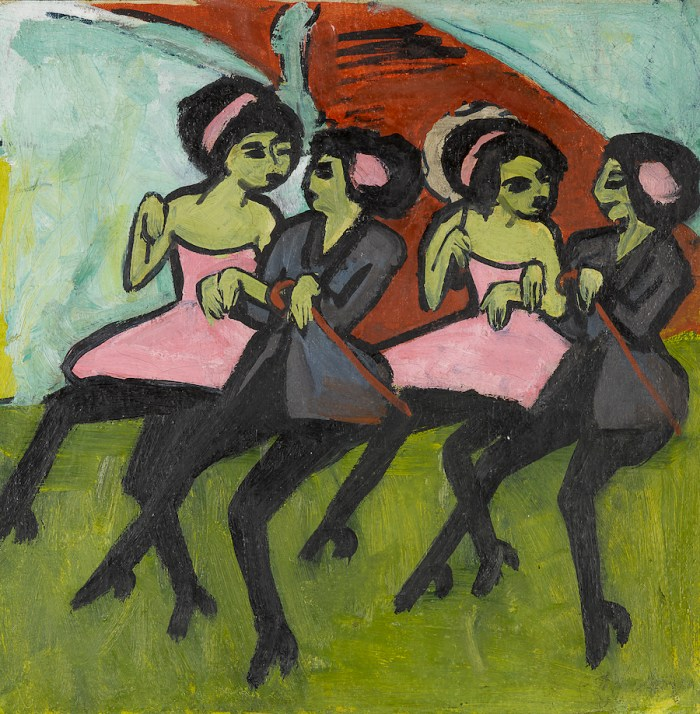 Ernst Ludwig Kirchner, Panama Dancers, 1910-11. A review of Kirchner's exhibition at Neue Museum, NYC, is at Riot Material, LA's premier art magazine.