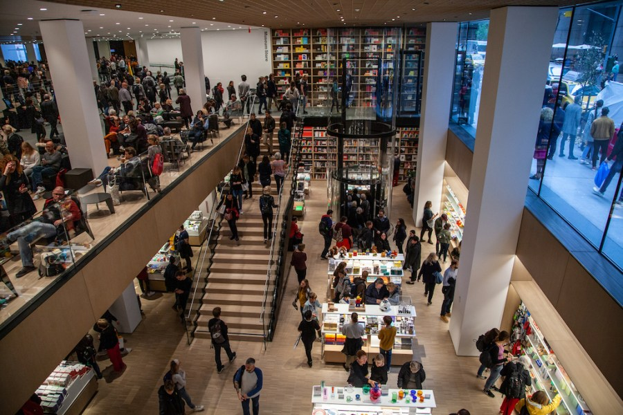 crowds inside the new MoMA