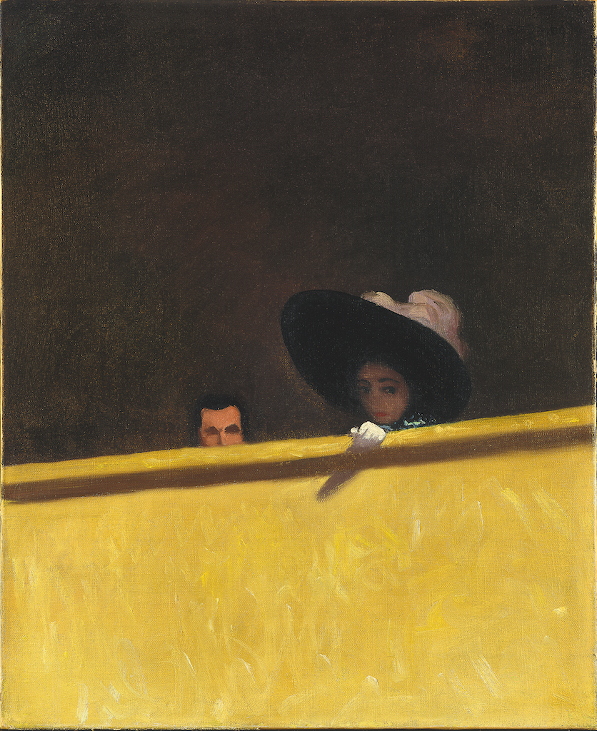 """Félix Vallotton, The Theatre Box, 1909. The Met's """"Painter of Disquiet is reviewed at Riot Material magazine."""