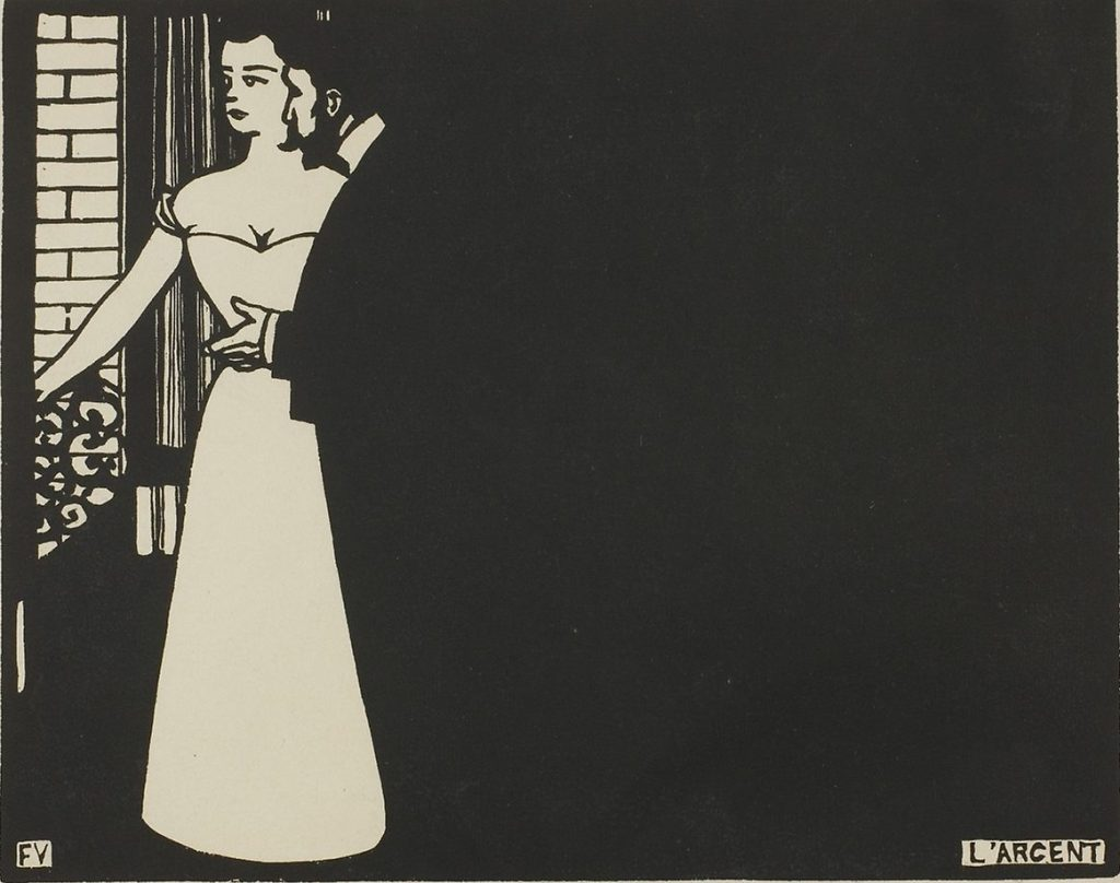 """Félix Vallotton, Money, 1898. The Met's """"Painter of Disquiet is reviewed at Riot Material magazine."""
