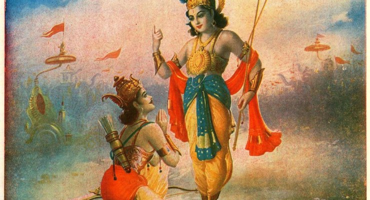 Lord Krishna speaks to Prince Arjuna about the Gita