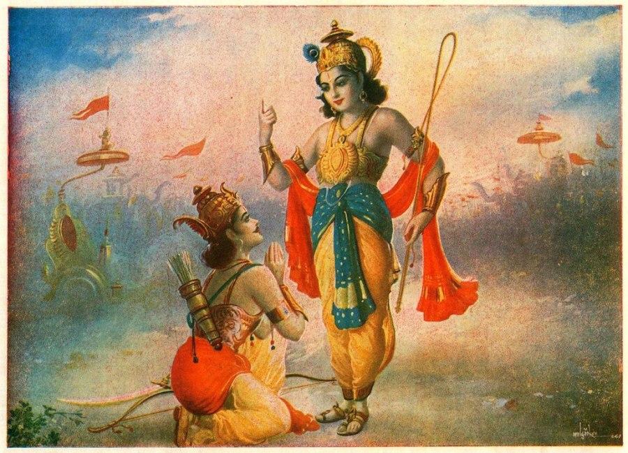 Lord Krishna speaks to Prince Arjuna about the Gita