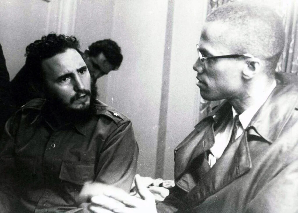 Fidel Castro and Malcolm X at the Hotel Theresa in Harlem, 1960