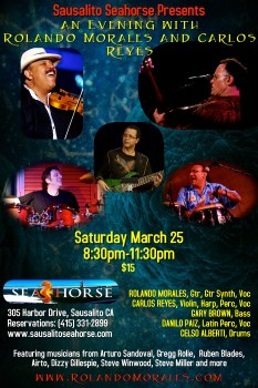 Full Rolando Morales band featuring Carlos Reyes, Gary Brown, Celso Alberti, and Danilo Paiz