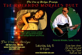 Estaire Godinez joins Rolando Morales at The Vine at Brides, on July 15, 2017