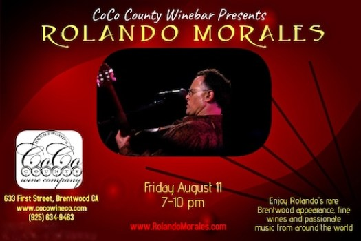 Coco's Winebar presents Rolando Morales on Friday, August 11, 2017 between 7 - 10pm