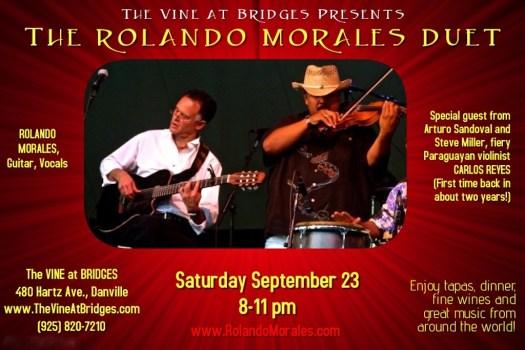 Rolando Morales and Carlos Reyes perform at The Vine at Bridges, September 23, 2017