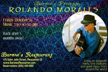 Rolando Morales performs at Barone's this Friday