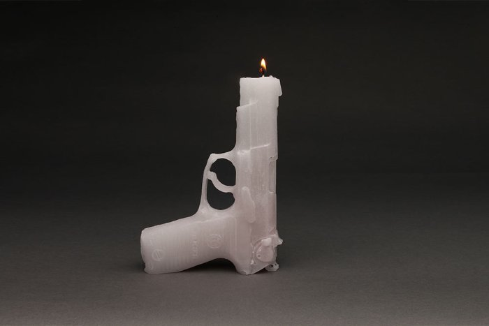 One Gun Gone White Candle Sculpture