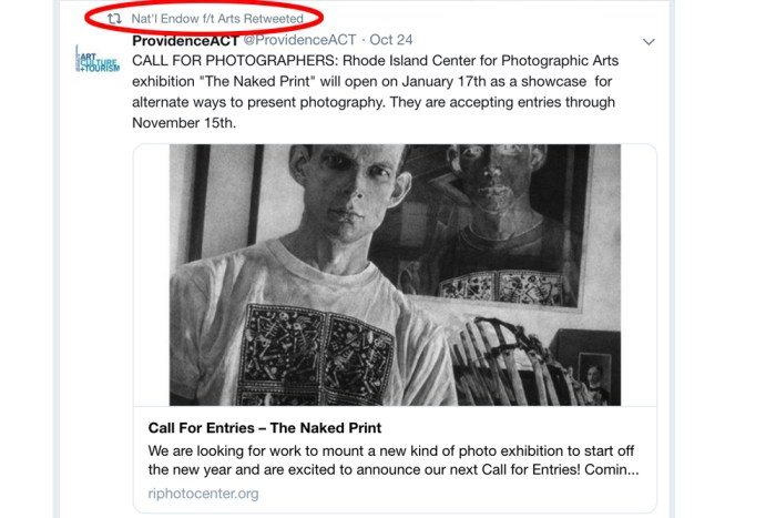 NEA retweets the Naked Print Exhibit