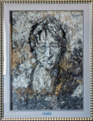 John Lennon portrait made entirely from dog hair