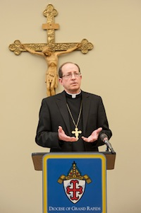 Bishop-elect David J. Walkowiak, 59, speaks during a press conference held April 18 to announce his appointment by Pope Francis as the new bishop of Grand Rapids, Mich. He succeeds Bishop Walter A. Hurley who has served as the bishop of Grand Rapids since